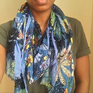 Blue Floral Rectangle Scarf